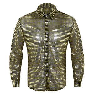 Glänzend Herren Paillettenhemd Disco-Hemd Herren Langarm Shirt Tops Trachtenhemd