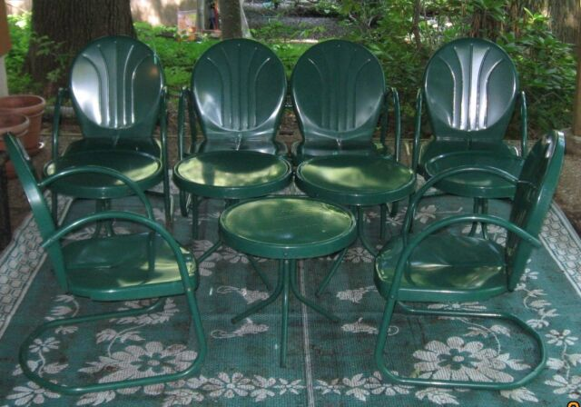 Retro Metal 10pc Patio Set -Hunter Green - Mint Condition - Used Only One  Season - Vintage Antique Outdoor Metal Furniture Collection On EBay!