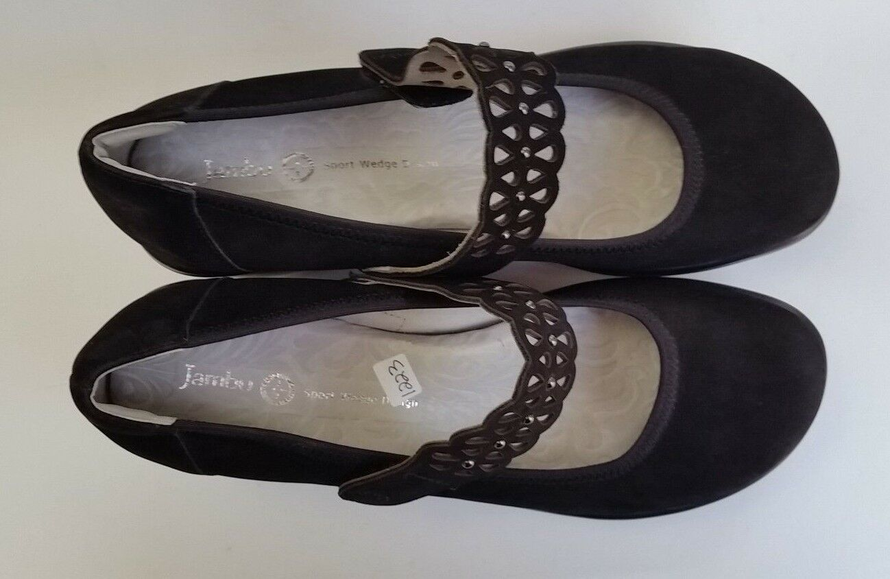 Jambu shoes Mary Janes Wedge Slip Slip Slip On Lace Strap Black Wonder Womens Size 9 M 7e3279