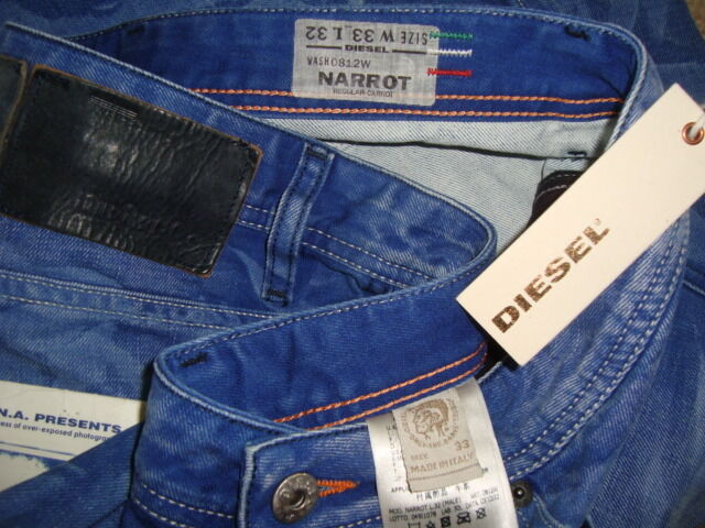 NWT DIESEL NARred DNA Carred Made in ITALY W-0812W Men's Cropped Jeans Sz 33