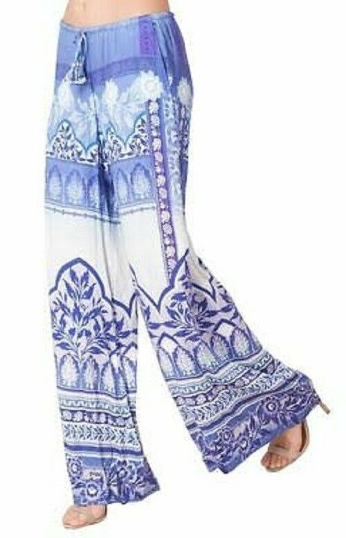 HALE BOB bluee Purple Floral Print MANAVI Satin Wide Leg Trousers Pants M 8 10