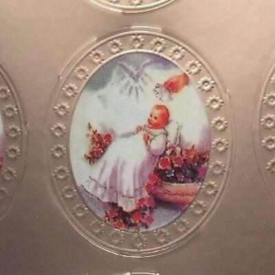 140 STICKERS BAUTIZO BAPTISM RECUERDOS METALIC OVAL GUARDIAN ANGEL FAVORS foil