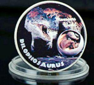 Muenze-Dinosaurier-Sammlermuenze-2-mit-999-9-Silber-ueberzogen-Vorderseite-farbi