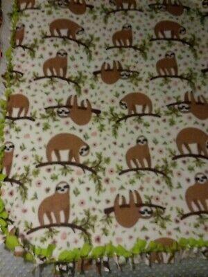 "Fleece Handmade Warm Soft Tie Blanket Stadium Throw App 50/""X60/"" Sloths /& flowers"