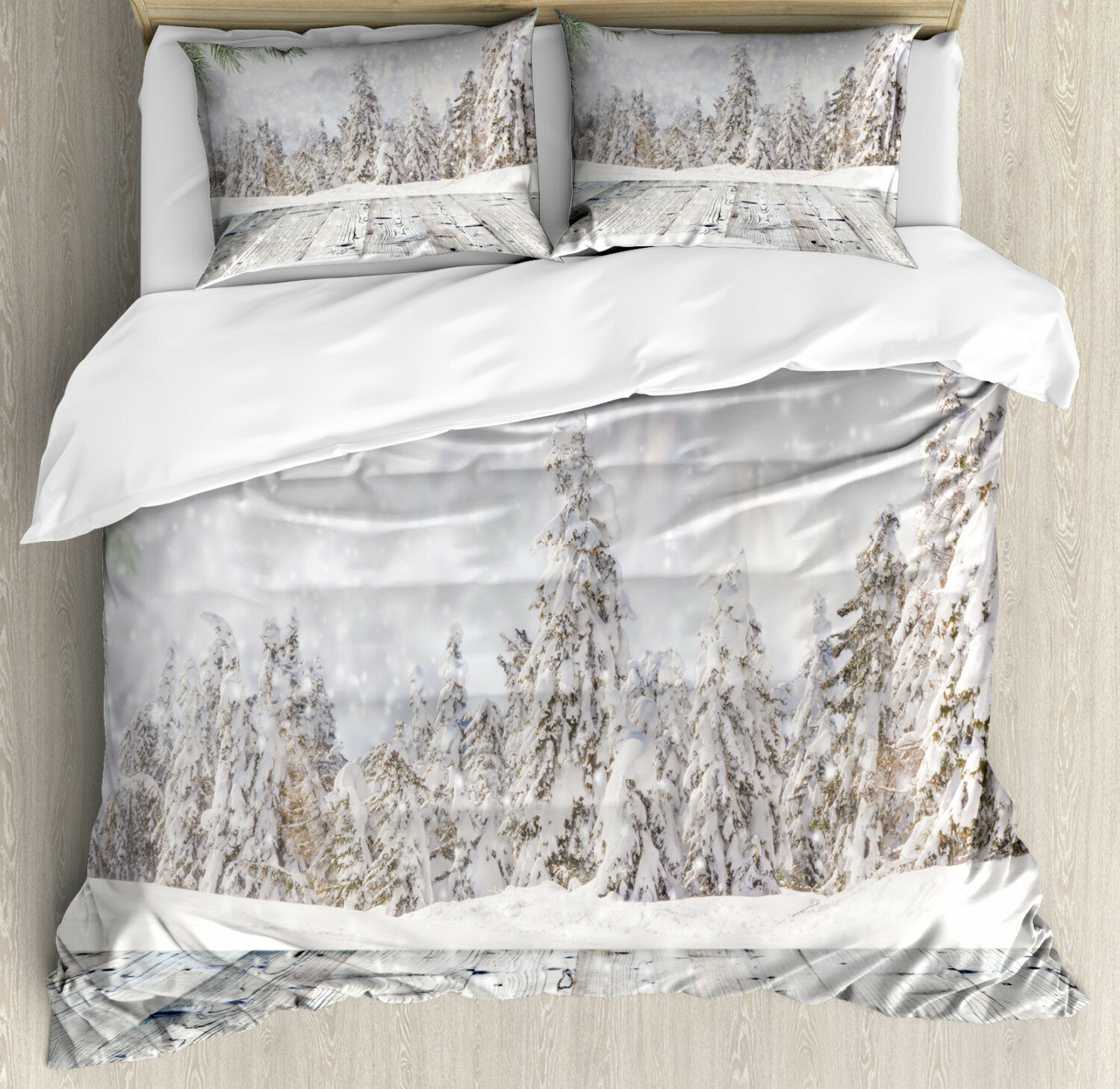 Winter Duvet Cover Set with Pillow Shams Wooden Surface Image Print