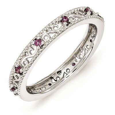 Silver Stackable Ring Round Rhodolite Garnet Stones June Birthstone Ring QSK1487