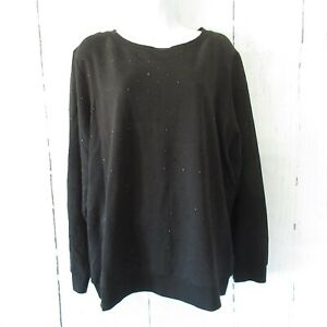 New-Susan-Lucci-Sweatshirt-Top-XL-X-Large-Black-Rhinestone-QVC
