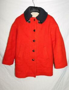 Vintage-Hudson-039-s-Bay-M-Red-Black-Wool-Blanket-Coat-Fleece-Lined-Button-Womens-12