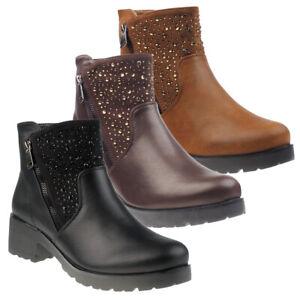 5008-Damen-Stiefel-Stiefelette-Reisverschlus-Lederlook-Nieten-Ankle-Boots