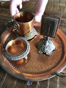 4-pc-Vintage-Copper-Cigar-Cigarettes-Smoking-Set-Ash-Tray-Match-Holder-Tray
