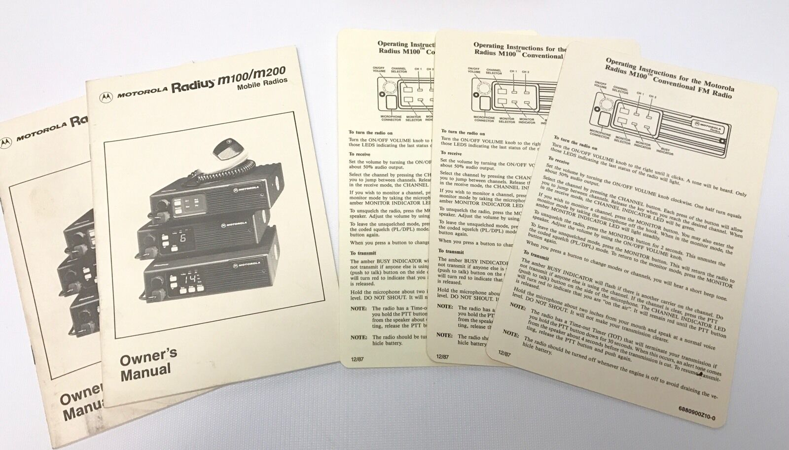 2 Motorola M100 M200 Radio Owner's Manual & 3 Operating Instruction Cards. Buy it now for 17.95