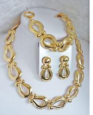 3-tlg.Schmuckset: Kette + Armband + Ohrstecker Gold Metall Schmuck NEU + TOP