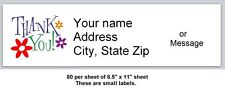 80 Small Return Address Labels Thank You Buy 3 Get 1 Free T9
