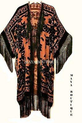 Fringe Jacket Kimono Duster Silk Burnout Velvet Tangerine Black Maya Matazaro