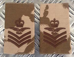 NEW Genuine British Army Desert Camo SERGEANT AIRCREW Rank Slides Epaulettes