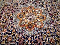 10X14 1940's INCREDIBLE HAND KNOTTED 70+YRS ANTIQUE WOOL NAVY MASHAD PERSIAN RUG