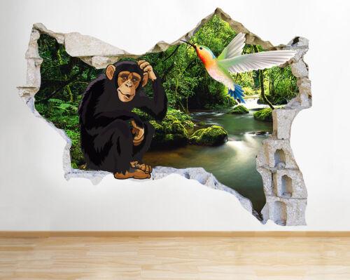 M812 Singe Jungle Animal Oiseau Smashed Applique Murale 3D Art Stickers Vinyl Chambre