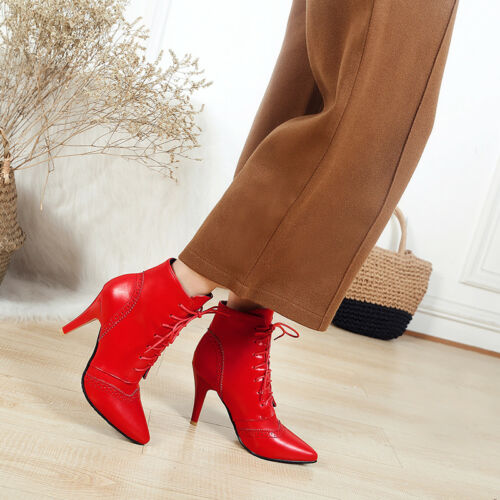 Women/'s Lace Up High Heel Ankle Boots Synthetic Leather Pointed Shoes O062