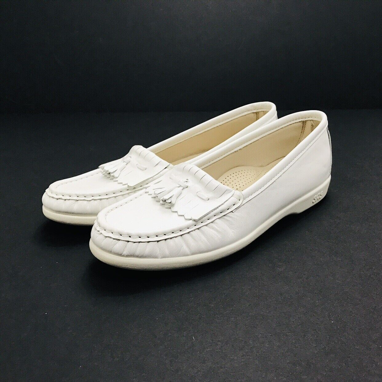 SAS Softie Soft White Leather Kiltie Tassel Moc Loafers shoes Women's 9 N