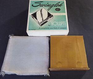 Volupte Swinglok Powder Compact Puff Sleeve Box Linear Gold Metal USA Unused Vtg