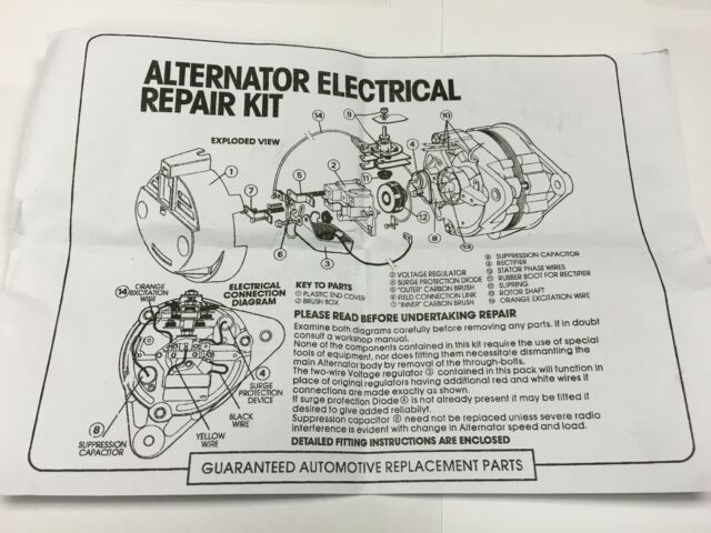 Alternator Repair Kit, Rectifier Regulator Brushes Fits LUCAS 15 16 on lucas a127 alternator, lucas alternator parts, lucas alternator cross reference, lucas alternator testing, lucas alternator connections,