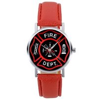 Army Watch Quartz Fire Fighter Sport Red Leather Wrist Stainless Steel Military