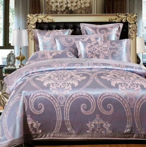 Details about  /Luxury Satin Jacquard Bedding Set Duvet Quilt Cover Pillowcases Twin Queen King