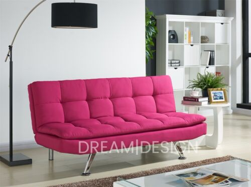 Fabric Sofa Bed 3 Seater Padded Sofabed Chrome Legs Cube Design ...
