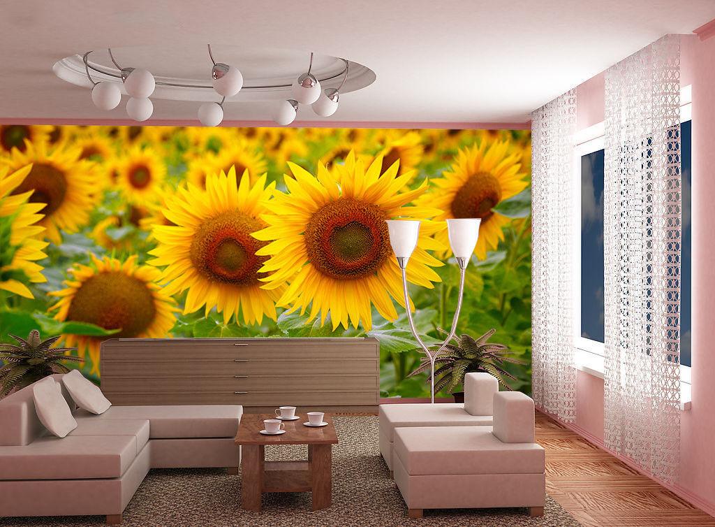 3D Sunflower 738 Wallpaper Mural Paper Wall Print Wallpaper Murals UK Lemon