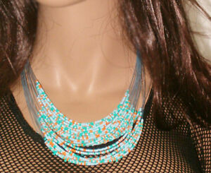 Multi-Strand-Versatile-Necklace-Belly-Chain-Choker-Turquoise-Coral-Seed-Bead