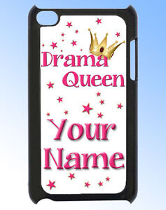 IPOD-TOUCH-4-DRAMA-QUEEN-PERSONALISED-REAR-COVER-CASE-GREAT-GIFT-amp-NAMED-TOO
