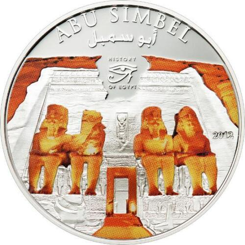 Cook 2012 Egypt Abu Simbel Dollar Silver Plated Colour Coin,Proof