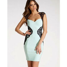 Lipsy Lace Applique Bodycon Dress Size 8 Mint Black Silhouette Party Occasion