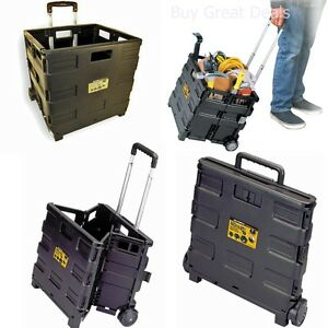 Image Is Loading Collapsible Folding Rolling Case Wheeled Crate Carrier Cart