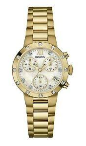 Bulova Women's Quartz Chronograph Diamond Accent Gold-Tone 30mm Watch 98R216