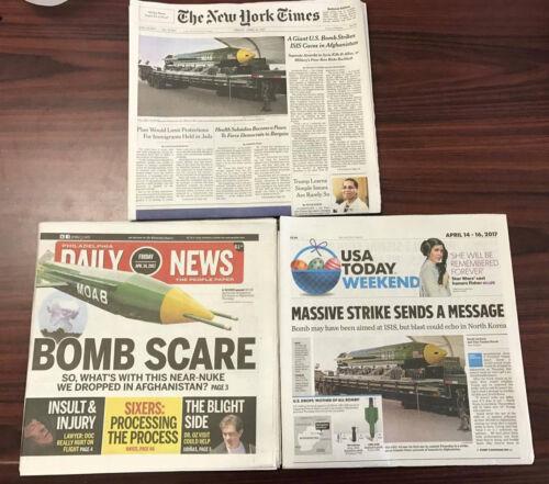 USA Today Philadelphia Daily News MOAB Afghanistan Newspapers 4//14//17 NY Times