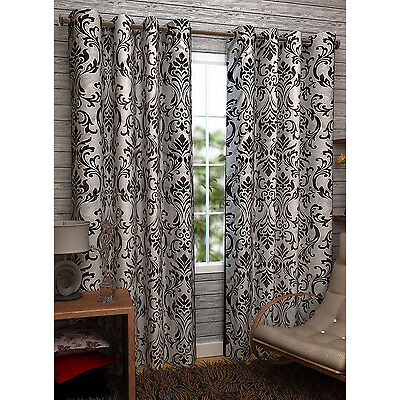 Homefab India Set of 2 Elegance Coffee Curtains with Metal Eyelets (HF113)