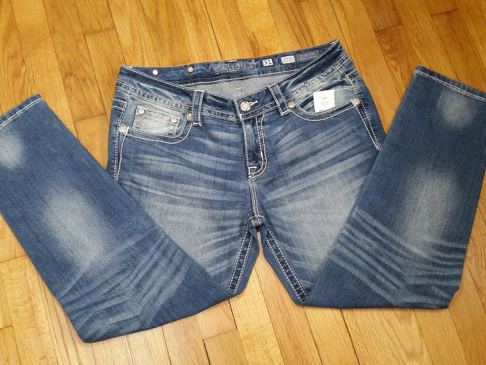 Miss Me Skinny Ankle Jeans Size 31 Low Rise Medium Wash JP8715AK New With Tags