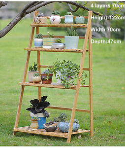 indoor outdoor bamboo garden decor pot flower plant stand display book shelf - Bamboo Garden Decor