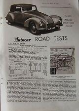 1948 Allard Drop-head Coupe Original Autocar magazine Road test
