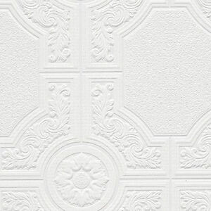 Ornate-White-Paintable-Wallpaper-with-Medallion-and-Octagonal-Shape-48929