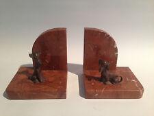 Art Deco Buchstützen Marmor Bronze Hunde Dackel Bosse Wien?  Skurril