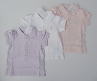 Polo Ralph Lauren Baby Boys Cotton Interlock Polo Shirt White Blue 6m 9m 12m