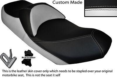 WHITE & BLACK CUSTOM 07-13 FITS SUZUKI AN 400 BURGMAN LEATHER DUAL SEAT COVER