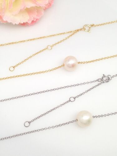Sterling Silver 925 Single Bead Freshwater Pearl Pendant Necklace 7.5mm