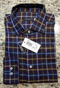St-Croix-mens-Sz-L-plum-dark-purple-button-down-shirt-collared-long-sleeve