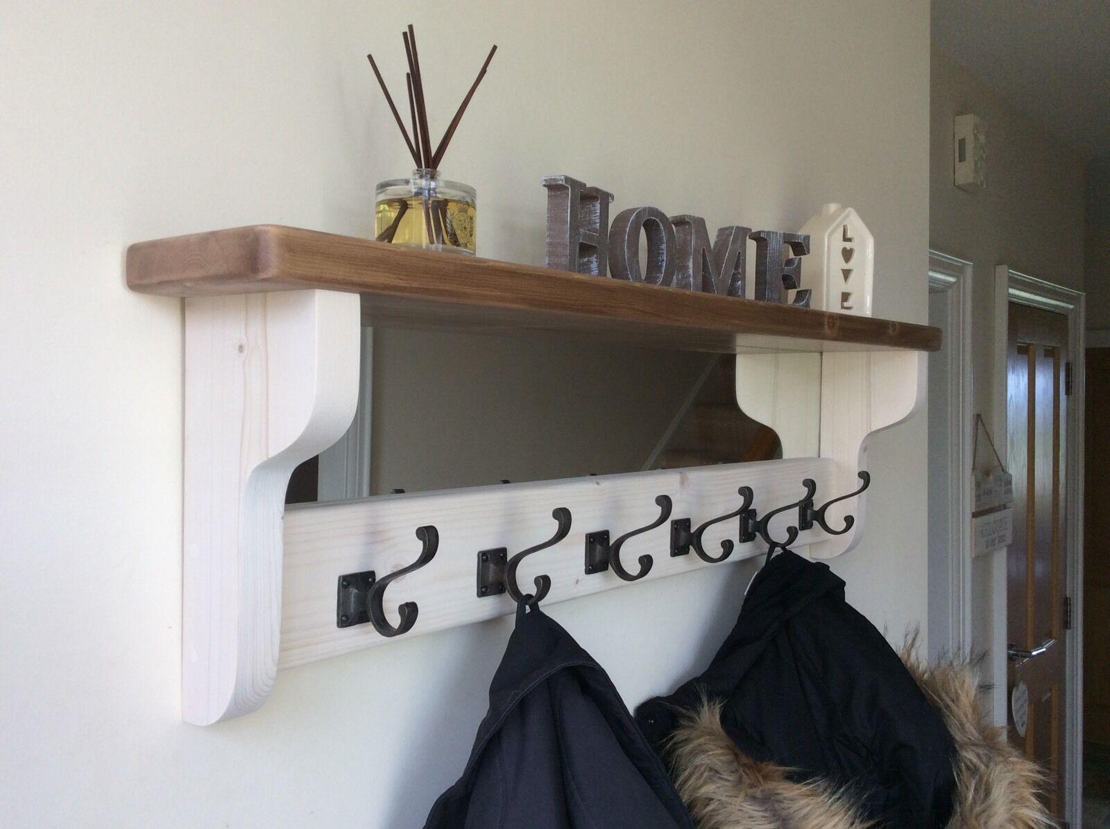 * belle qualité fait main en bois crochet rack avec miroir et étagère *