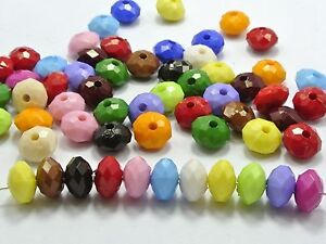 200-Mixed-Bright-Color-Acrylic-Faceted-Rondelle-Beads-6X10mm-Spacer