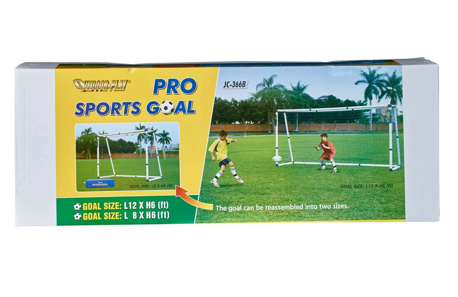 Fußballtor; Fußball Tor, verstellbar in zwei Größen: 3,6x1,8m + 2,43x1,8m