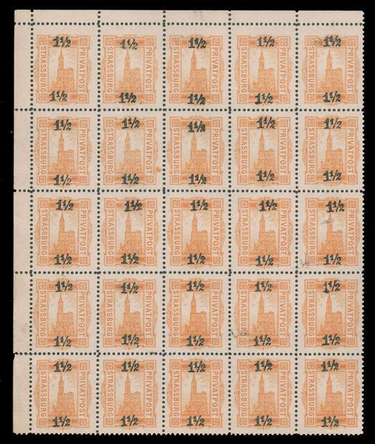 Germany Collection MNH CV$335.00 Strassburg Privatpost 1886  TL Corner